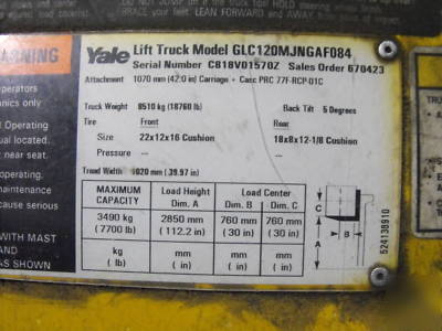 Yale lift truck forklift model GLC120MJNGAF084