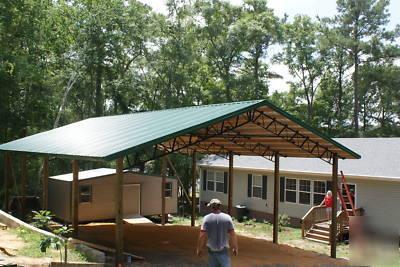 Pole barn w metal roofing steel truss best deal for 24x36 pole building