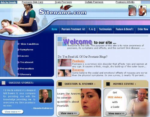 Psoriasis treatment website business for sale + adsense